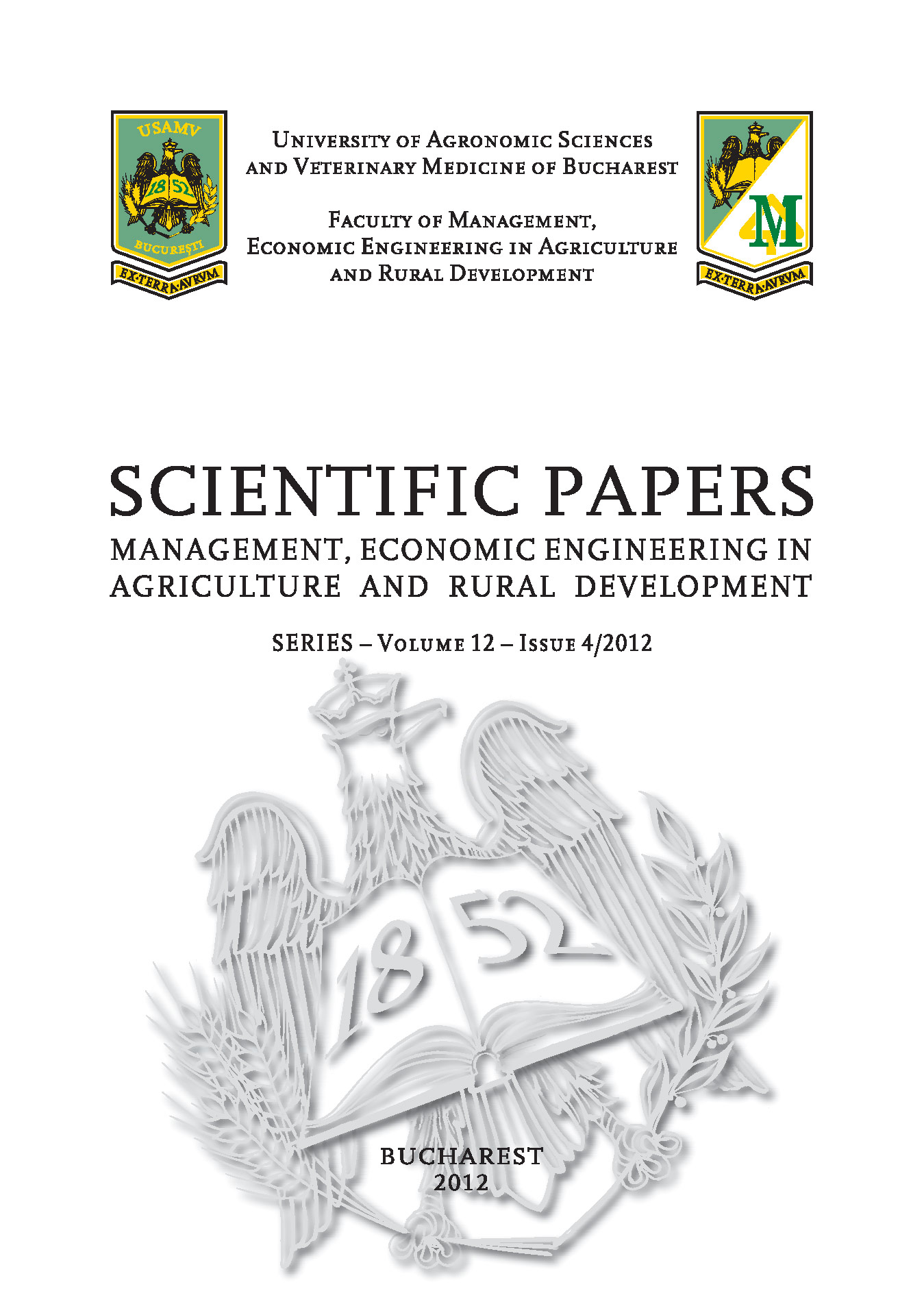 Scientific Papers Management Economic Engineering in Agriculture and Rural Development